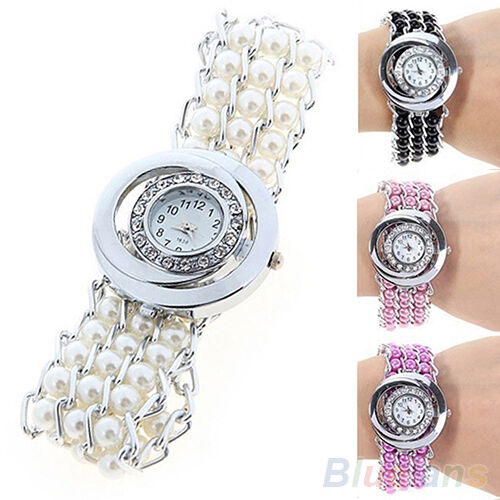 Womens New Fashion Rhinestone Faux Pearl Quartz Round Dial Bracelet Wrist Watch
