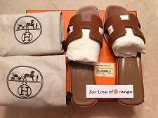 NIB Authentic Hermes Oran Sandals Slides Gold Tan Size 37.5 $680 + Tax
