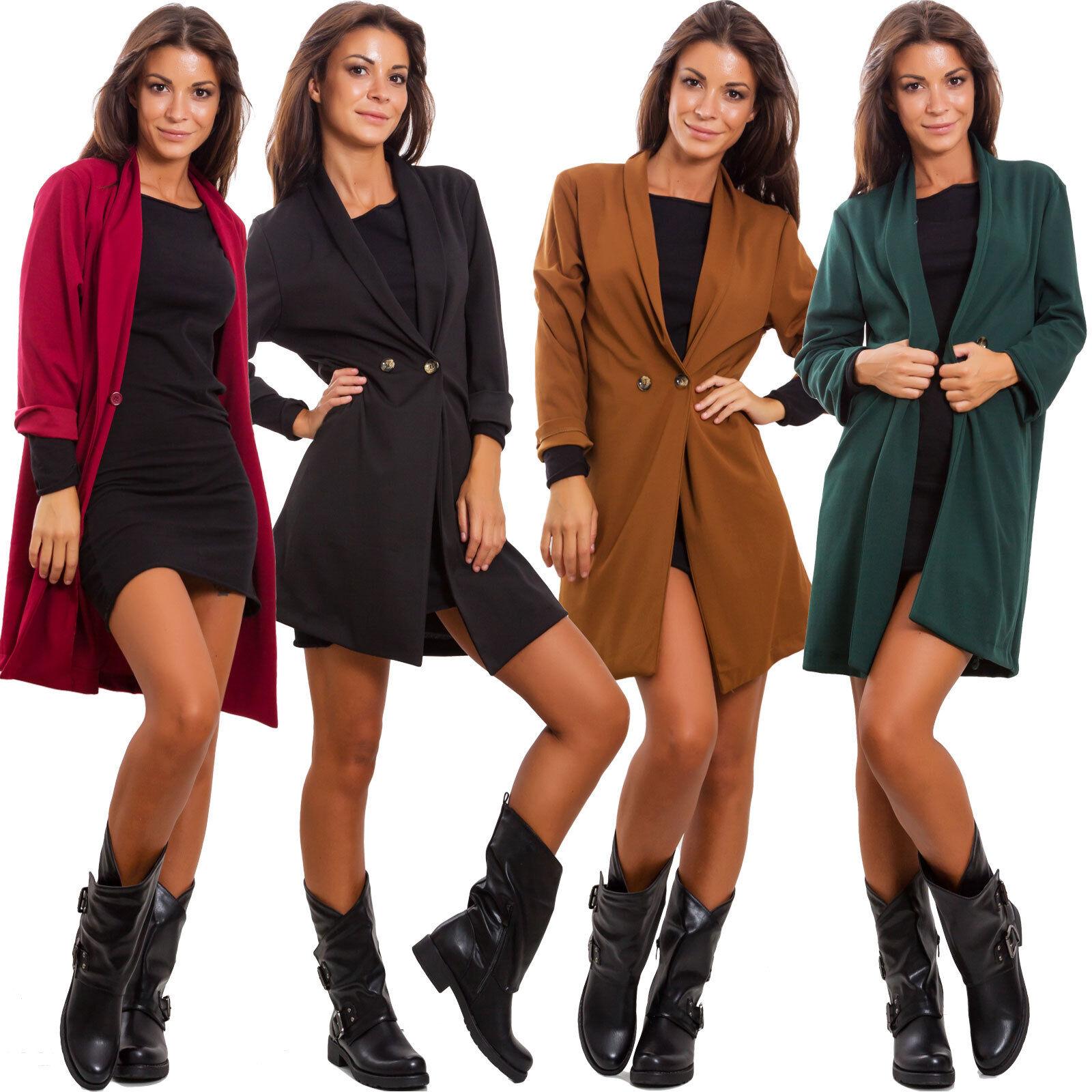 Americana women chaqueta larga élégant chaquetón oversize botones sexy GI-17239