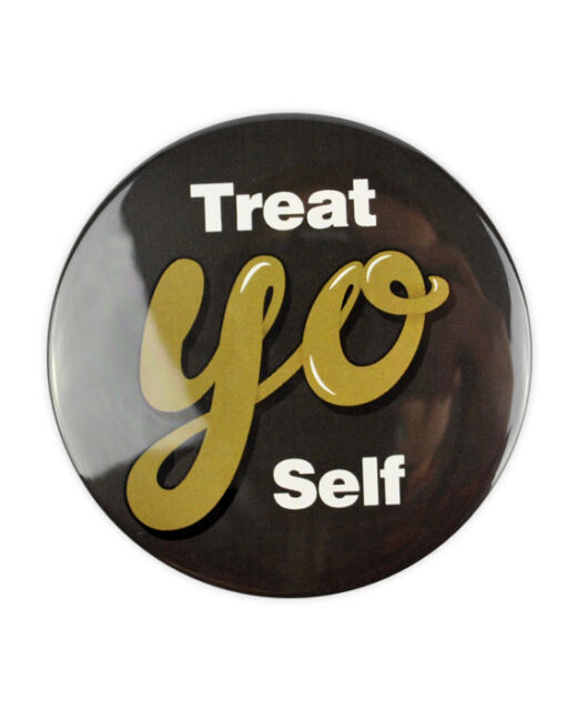 Treat Yo Self Large Badge! Parks and Recreation, Tom Haverford Aziz Ansari,Donna
