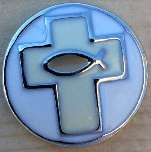 .~ Snap Chunk Button Cream Cross With Fish Charm For Ginger Snap Style Jewelry