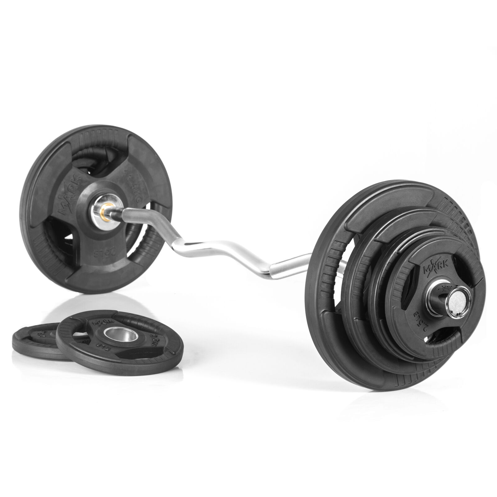 XMark XM-3675-CHROME-BAL-95 Olympic Curl Bar with 95  lb. Olympic Weight Set  come to choose your own sports style