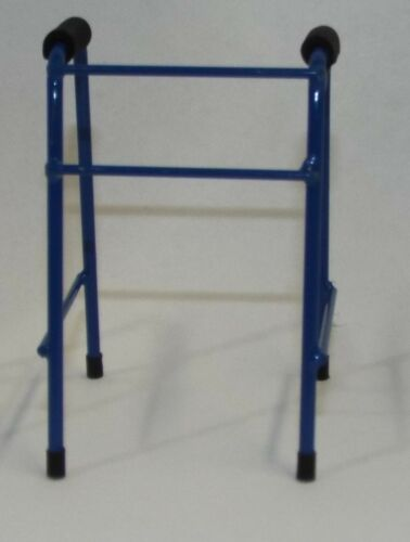 Dollhouse miniature handcrafted Medical walker metal 1//12th scale Blue