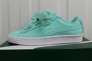 low priced cff8e 1faf8 Details about JUNIOR PUMA BASKET HEART PATENT ARUBA BLUE RIHANNA TRAINER  BNIB RRP 49.99 10