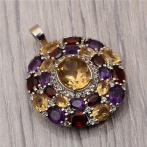 Natural-Garnet-Amethyst-Citrine-With-White-Topaz-925-Sterling-Silver-Pendant