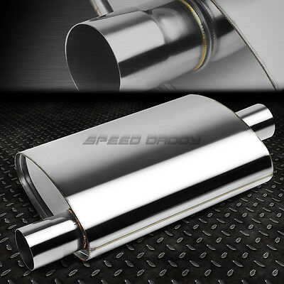"""FULLY POLISHED STAINLESS STEEL HIGH-FLOW PERFORMANCE MUFFLER 2.5"""" OFFSET/CENTER"""
