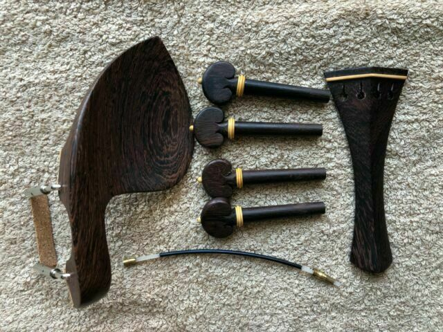 1 Set Rosewood Violin Parts 4 4 Fittings Chinrest Pegs Tailpiece Tuners Endpin For Sale Online Ebay
