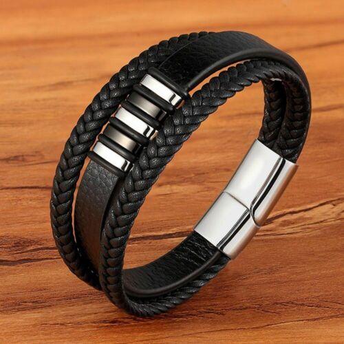 Bracelet 3Layers Black Gold Punk Style Genuine Leather Men Steel Magnetic Button