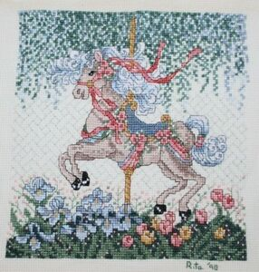 Carousel-Horse-Bouquet-of-Pansies-Flowers-Cross-Stitch-Completed-Finished