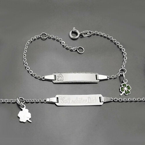 Baby Taufe Engel ID Armband Glücks Klee Gott schütze Dich Silber 925 mit Gravur