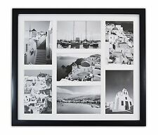 13.7x15.7 Black Wood Collage Frame with REAL GLASS and White for (7) 4x6 Photo