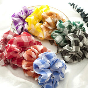 AU-Plaids-Hair-Band-Scrunchie-Hair-Rope-Ties-Ponytail-Hair-Ring-Hair-Accessories