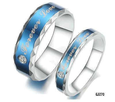 2PC Couple Ring Wedding Bands Titanium Stainless Steel Forever Love Set  Gifts