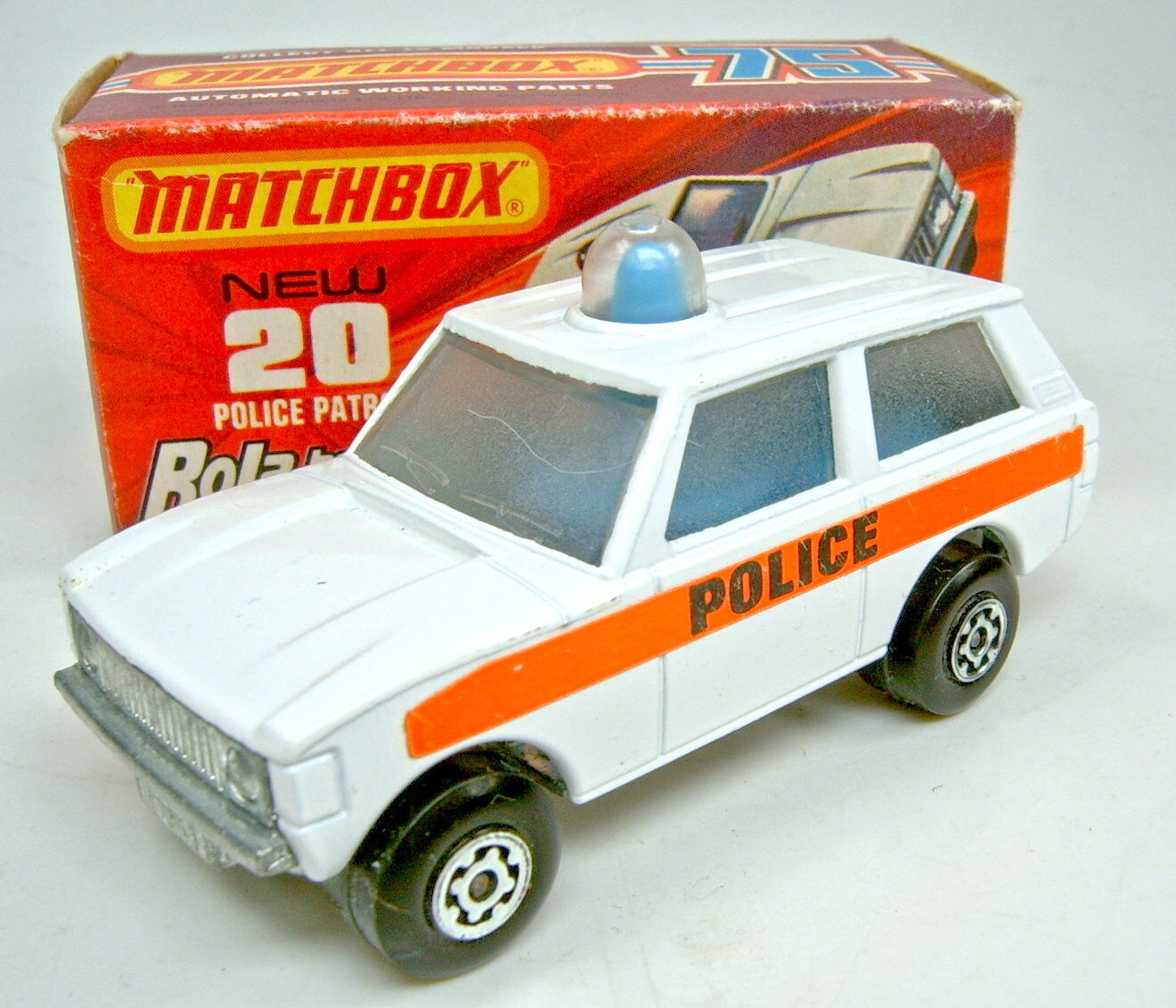 Matchbox SF Nr.20B Police Police Police Patrol white  Police  bluee Leuchte top in Box b8a260