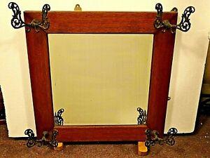 Victorian Antique Beveled Glass Oak Wall Hall Tree Mirror Coat Rack Ebay