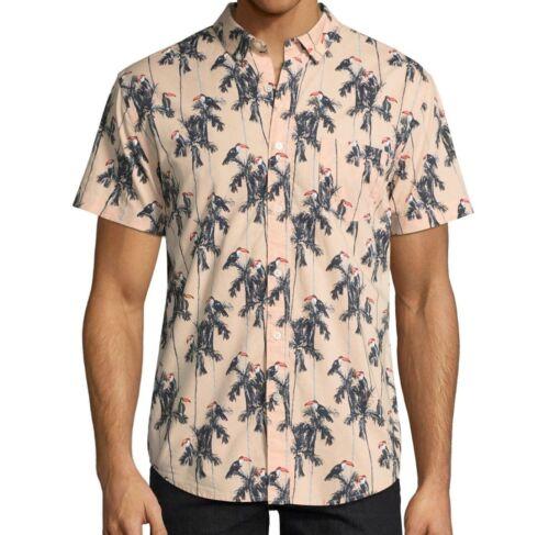 Arizona Tropical Palm Tree Toucan Bird Button Down Front Dress Shirt Size M-XXL