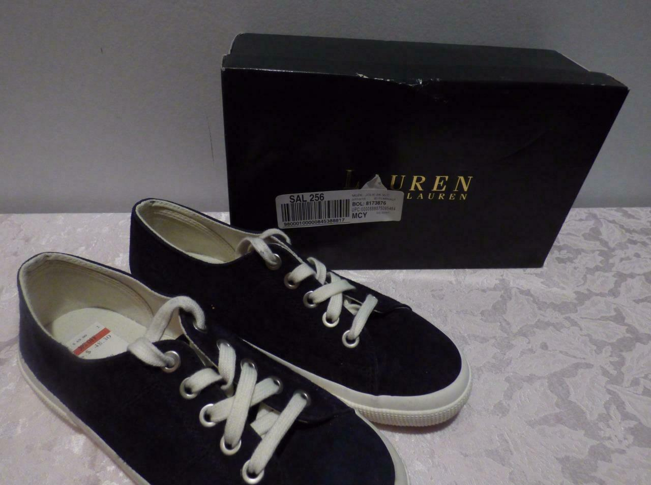Lauren Ralph Lauren Jolie Lace-Up Sneakers , Modern Navy, Kidsuede, US 7.5, B