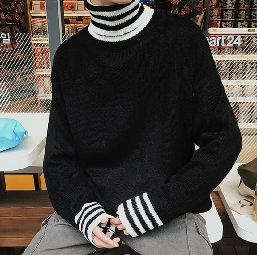 Mens Slim Loose Sweater Coat Hip Hop Casual High Collar Boys Knitted Tops Ske15