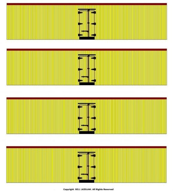 4 undecorated yellow color 40' boxcars S scale printed reefer sides Tuscan ends