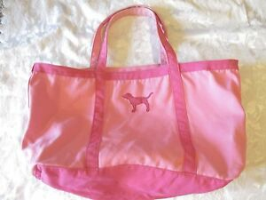 VINTAGE Victorias Secret VS PINK Duffle Tote Bag Carry On Pink dog charm large