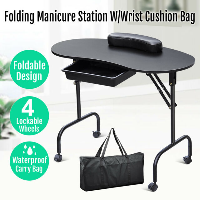Beauty Portable Manicure Nail Table Station Desk Spa Salon Equipment ...