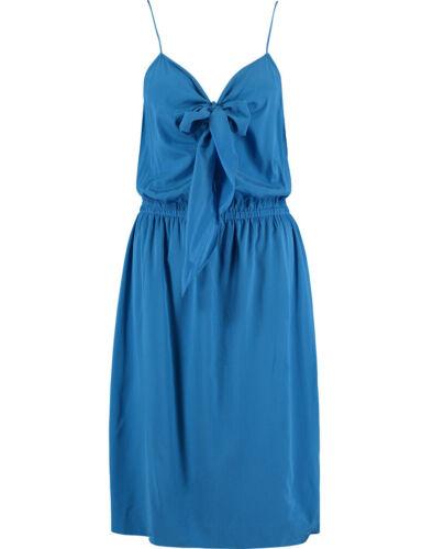 Dkny Seda Azul Vestido Con Moño BNWT