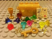 Lego NEW Pirate GOLD TREASURE CHEST w/11 Jewels/Gems Coins Map & Gold Key + Cup