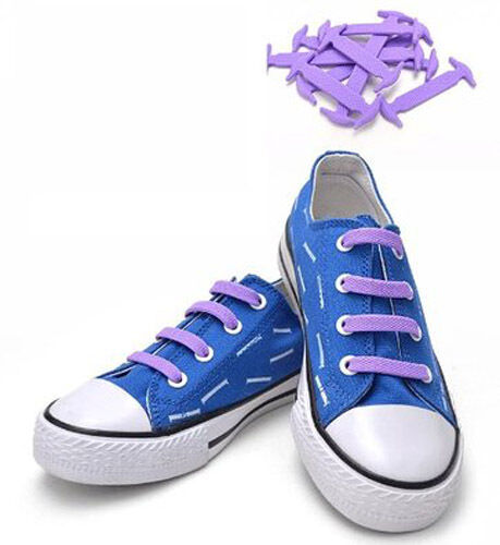 PURPLE No tie shoe laces anchor no tying pull lock Kool silicon one size fit all