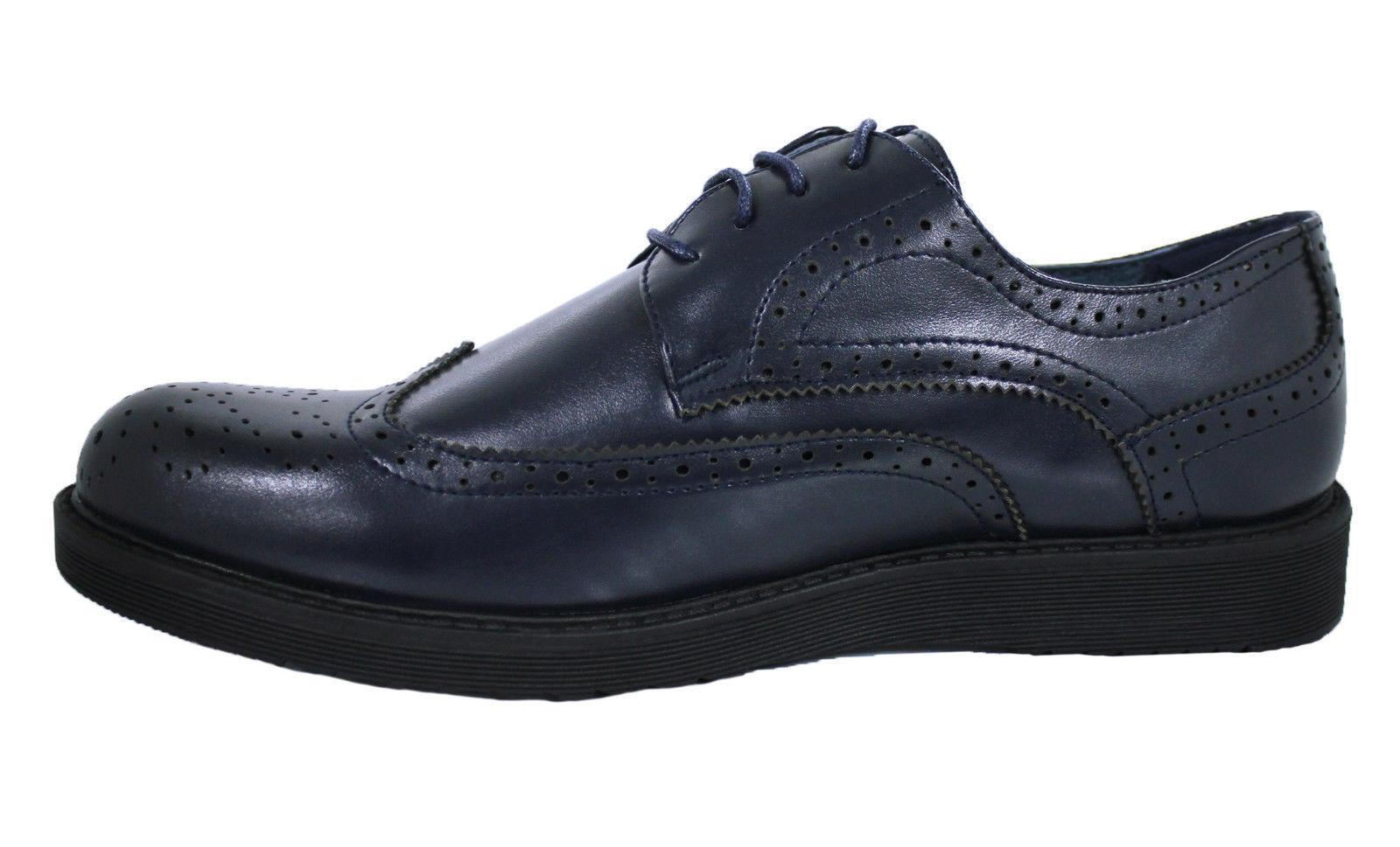 OXFORD HOMME shoes blue CUIR ÉCOLOGIQUE VERNIS CLASS ÉLÉGANT CASUAL