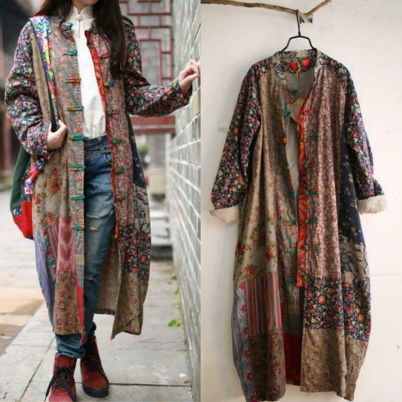 100% Cotton Linen Folk konst kvinnor Maxi Long Button Floral Lose Dress Retro Coats