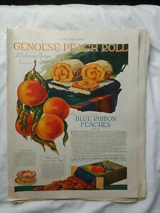Vintage-1921-Orig-Magazine-Ad-11x14-Genoese-Peach-Roll-A-Delicious-Recipe