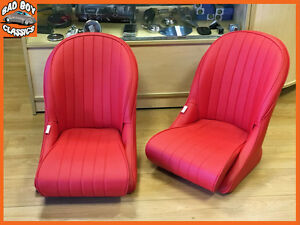 Pair Red BB Vintage Classic Car Bucket Seats Low Rounded Back Ideal ...