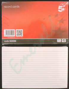 100-x-Record-Cards-White-Ruled-Both-Sides-Size-8-034-x-5-034-203x127-Same-Day-Dispatch