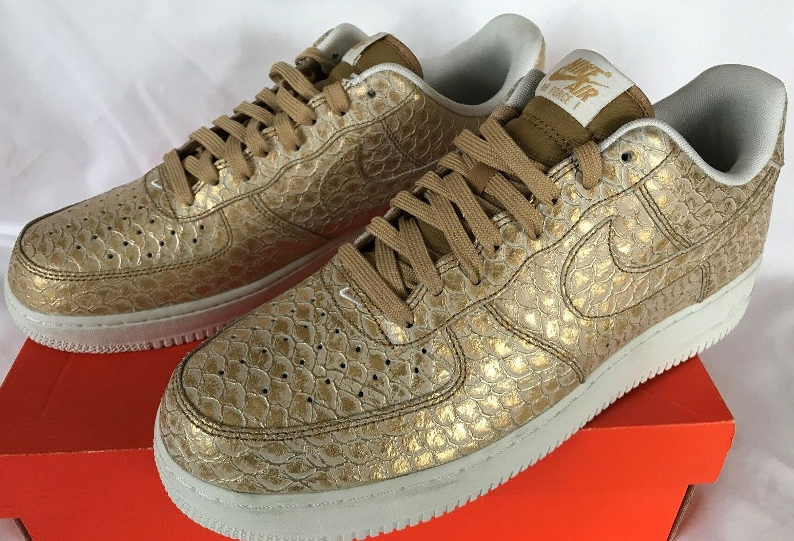 Nike Air Force 1 LV8 07 Gold 718152-701 Snake Retro Basketball Shoes Men's 11 Special limited time