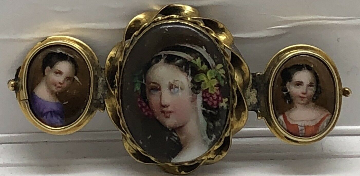 INTRICATE VICTORIAN 14K gold HAND PAINTED PORTRAIT CAMEO ENAMEL TRIPLE BROOCH