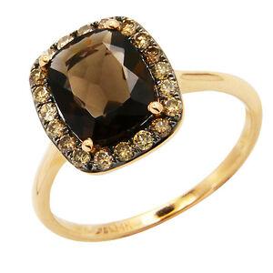 14Kt Gold 2 Ct Genuine Smoky Topaz Oval Ring