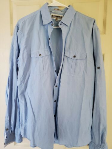 Men's Express Button Down fitted Shirt Denim- Size
