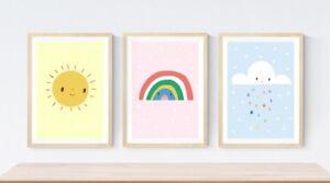 3-Sun-Sunshine-Rainbow-Cloud-Prints-Modern-Nursery-Room-Girls-Wall-Art-Pictures
