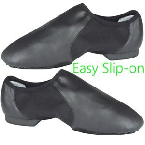 SLIP-ON-JAZZ-DANCE-SHOES-Black-Leather-split-irish-ballet-leotard-sole-UNISEX-CC