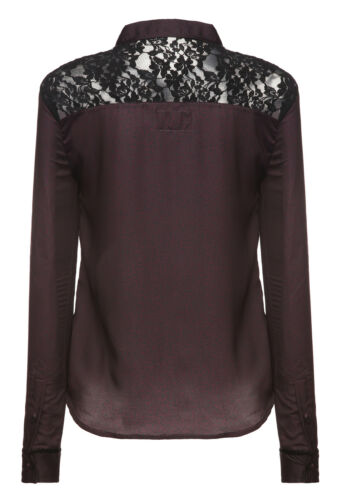 khujo Damen Langarm Bluse EDDA bordeauxrot Spitzeneinsatz Shirt SALE 60/%!
