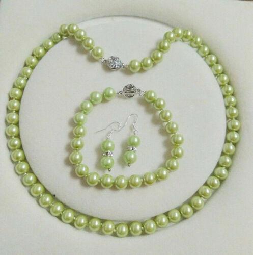 Pulsera 6 Colores 8mm Akoya Concha de perla redonda granos collar Aretes AAA