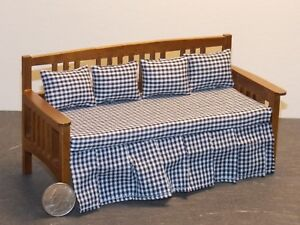 Dollhouse-Miniature-Daybed-Bed-Walnut-1-12-one-inch-scale-N63-Dollys-Gallery