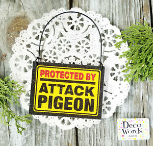DecoWords-Mini-Fun-Sign-PROTECTED-BY-ATTACK-PIGEON-Wood-Ornament-Gag-Gift-USA