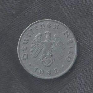 GERMANIA-1-REICHPFENNIG-1942A-q-SPL-KM-97-Deutschland-PFENNIG-mrm