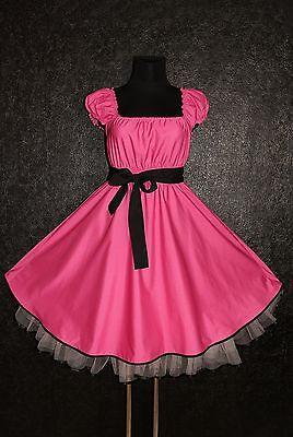 40s 50s ROCKABILLY SWING DRESS Plus Size 18 20 22 Pink Black Pin Up Retro Prom