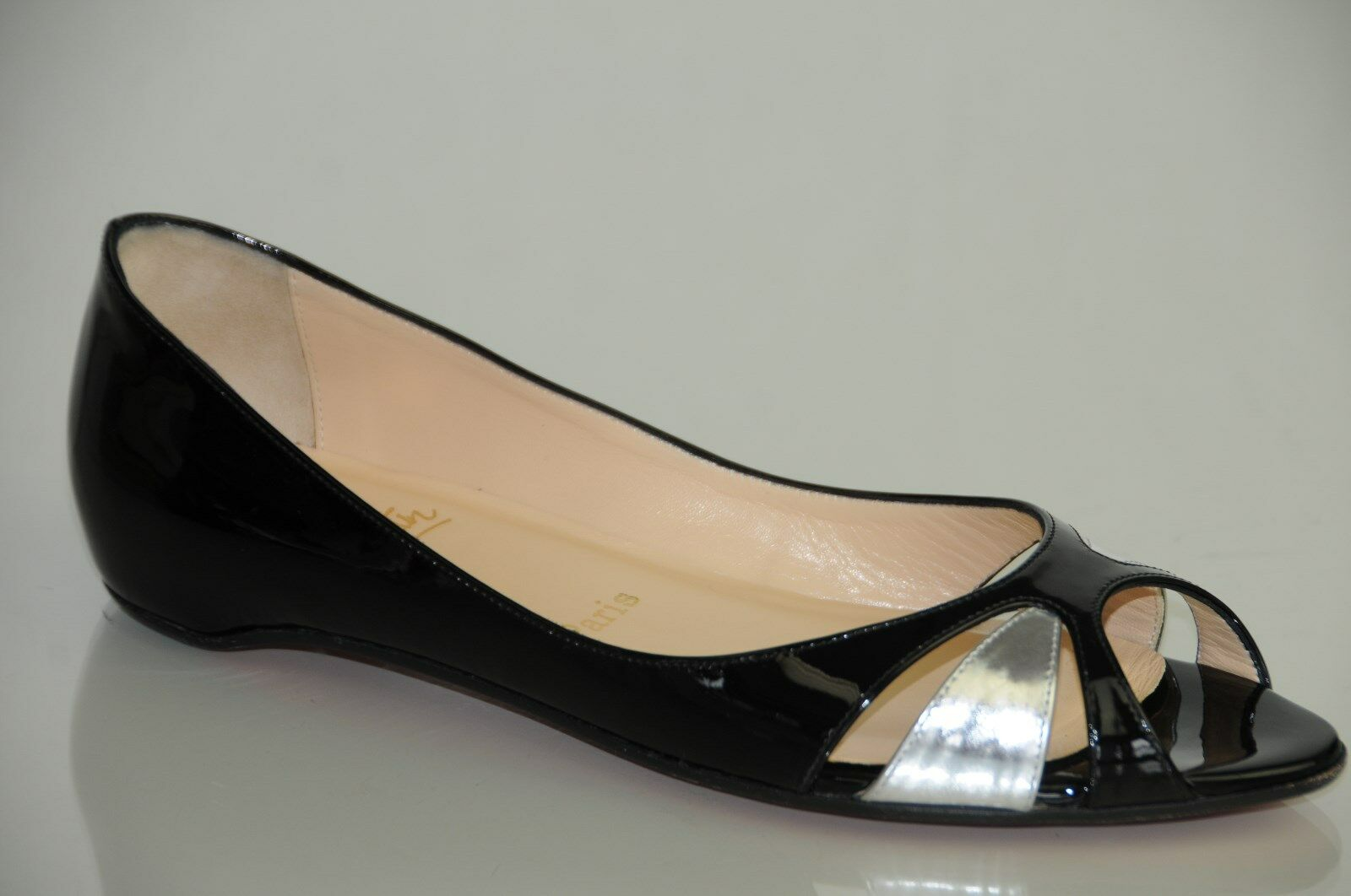 New CHRISTIAN LOUBOUTIN Black Silver Patent Tami Closed Open Flats SHOES 39.5 9