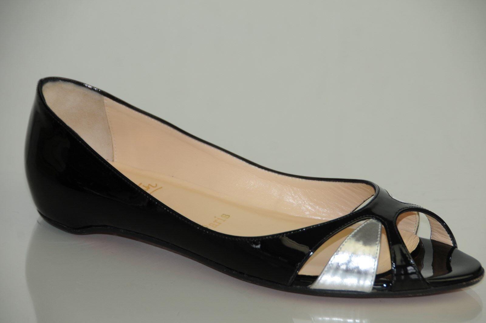Nuevo Nuevo Nuevo Christian Louboutin Negro Plata patente Tami Cerrado abierto Flats Zapatos 39,5 9  Centro comercial profesional integrado en línea.