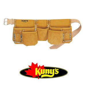 KUNYS Carpenters Full Grain Leather 13 Pocket Tool Belt Holder Apron, AP630