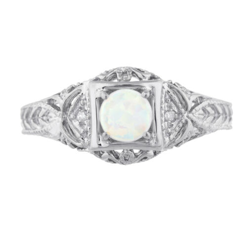 Opal /& Diamond Round Ring .925 Sterling Silver