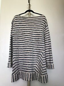 Soft-Surroundings-Marina-Pullover-Tunic-Sweater-Beige-Navy-Blue-Stripe-Size-L